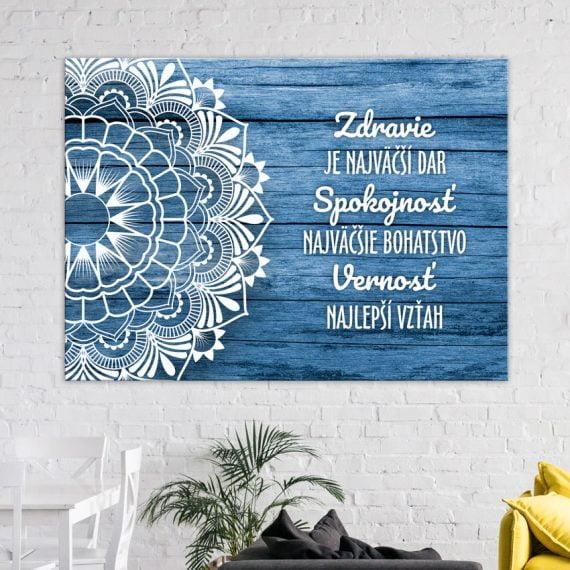 Modrý obraz na stenu Mandala s citátom