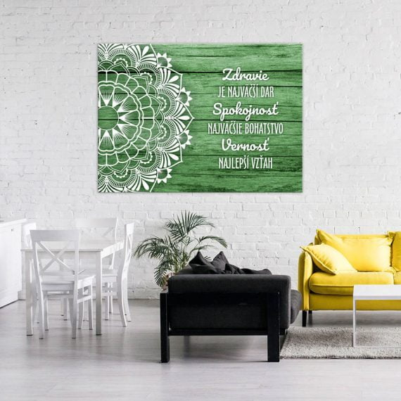 Zelená mandala, motivačný obraz na stenu