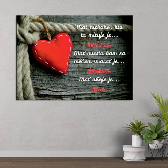 Motivačný obraz na stenu so srdcom a textom o rodine