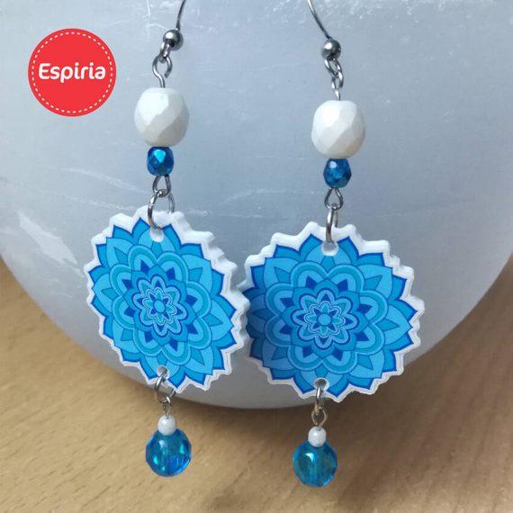 Modré Mandala náušnice so sklenenými korálkami