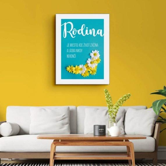 Motivačný tyrkysový obraz Rodina na žltej stene