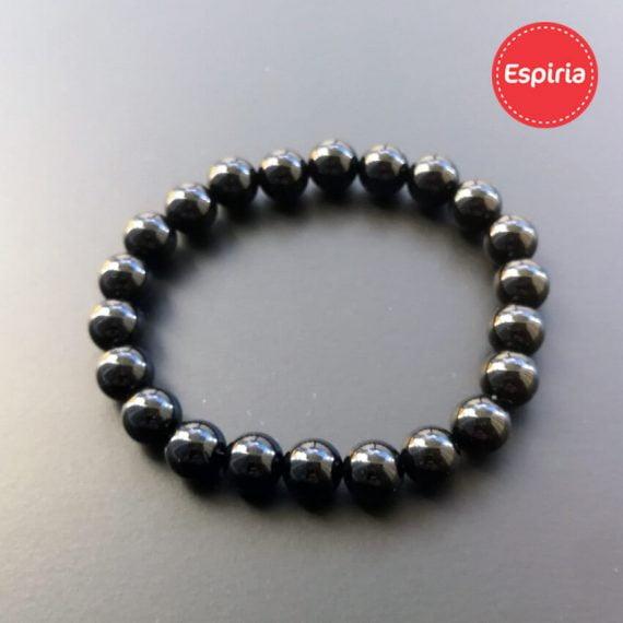 Elegantný náramok lesklý čierny ónyx na elastickej gumičke z prírodných kameňov