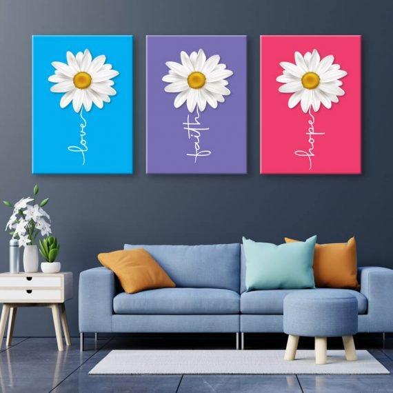 Moderný obraz na stenu love, faith, hope. Tri dôležité súčasti života: láska, viera nádej...