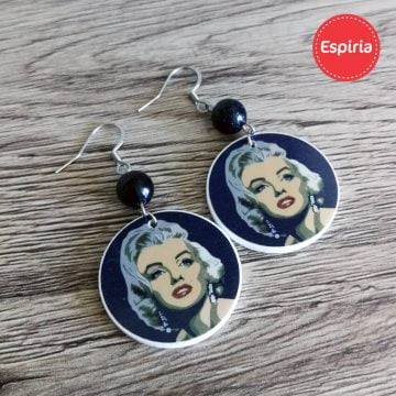 Náušnice Marilyn Monroe s prírodným kameňom Avanturín Blue Gold s chirurgickou oceľou