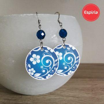 Originálne náušnice folk modré so sklenenou korálkou.